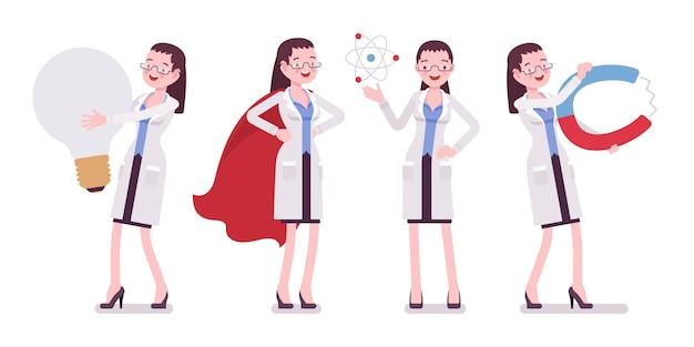 Científico femenino y cosas gigantes