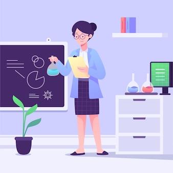 Científico femenino con gafas trabajando en un laboratorio