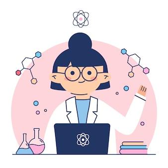 Científico femenino rodeado de fórmulas