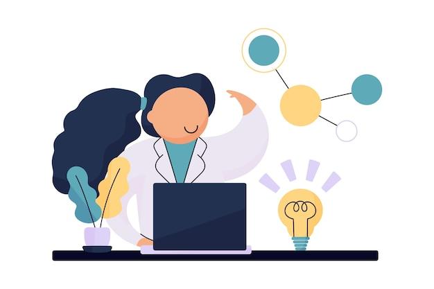 Científico femenino teniendo una idea