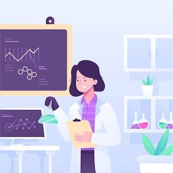 Científico femenino trabajando en un laboratorio