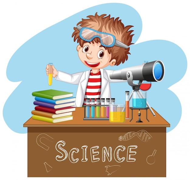 Científico haciendo experimento en laboratorio de ciencias