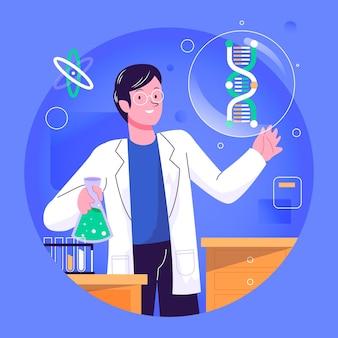 Científico con ilustración de moléculas de adn