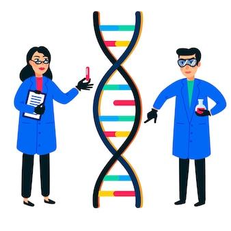 Científico de investigación del genoma humano que trabaja con un genoma de hélice de adn o una estructura genética