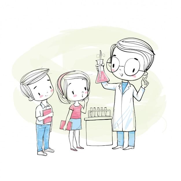 Científico masculino y estudiantes.