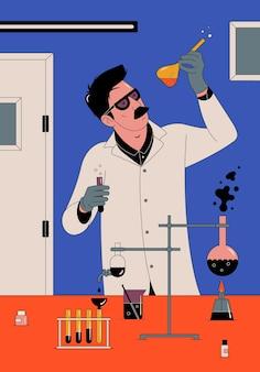 Científico con matraz químico en laboratorio