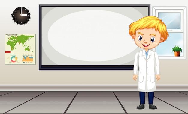 Científico de pie junto al tablero