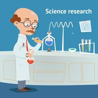 Científico que investiga en un laboratorio químico con varios experimentos en curso mientras vierte una solución de un tubo de ensayo en una ilustración de vector de vaso de precipitados