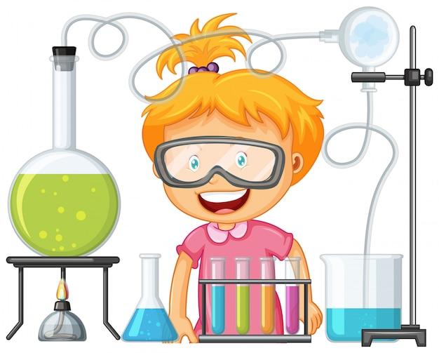 Científico que trabaja con herramientas científicas en laboratorio