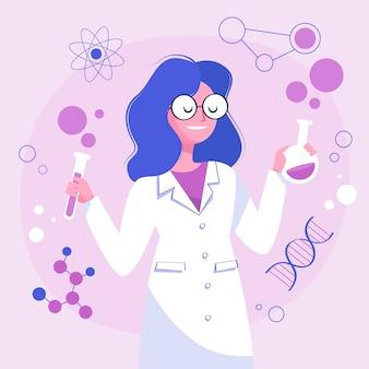 Científico de sexo femenino que sostiene la cristalería de laboratorio
