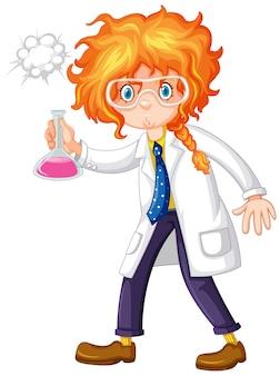 Científico de sexo femenino que sostiene el químico en la mano
