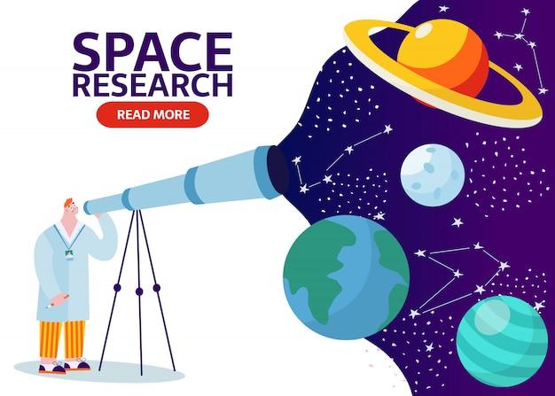 Científico con telescopio aprendiendo el espacio ultraterrestre con estrellas, luna, asteroides, constelaciones de fondo. investigador que explora el universo y la galaxia. hombre de dibujos animados estudiando tierra, saturno, bandera de la luna.