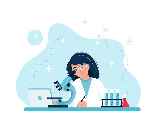 Científico en el trabajo, personaje femenino realizando experimentos con microscopio.
