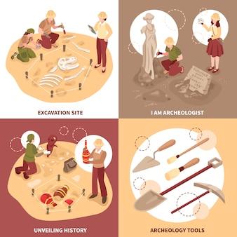 Los científicos del concepto de diseño isométrico de arqueología con herramientas en el sitio de excavación y descubrimientos históricos aislaron ilustración vectorial