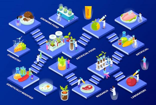 Científicos con equipo de laboratorio y productos alimenticios artificiales isométrica composición de varios pisos en azul