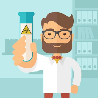 Científicos experimentando con tubo de vidrio.