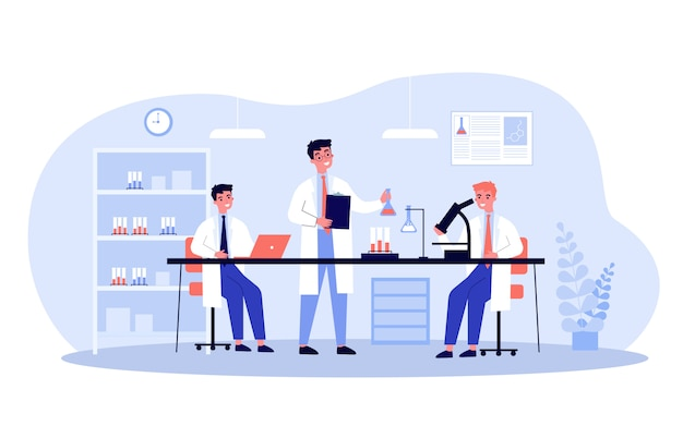 Científicos haciendo investigación médica en laboratorio.