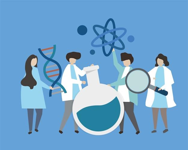 Científicos con ilustración de iconos de ingeniería genética