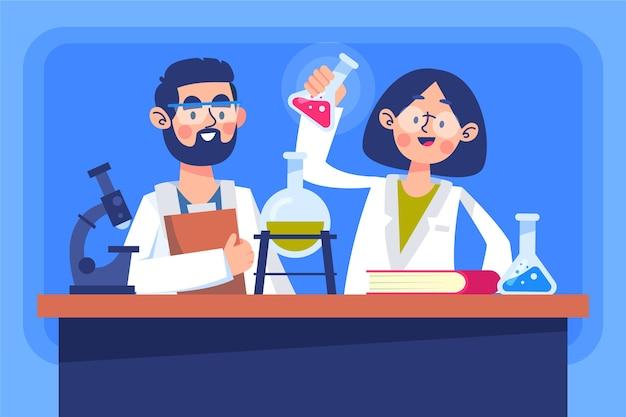 Científicos ilustrados trabajando en laboratorio.