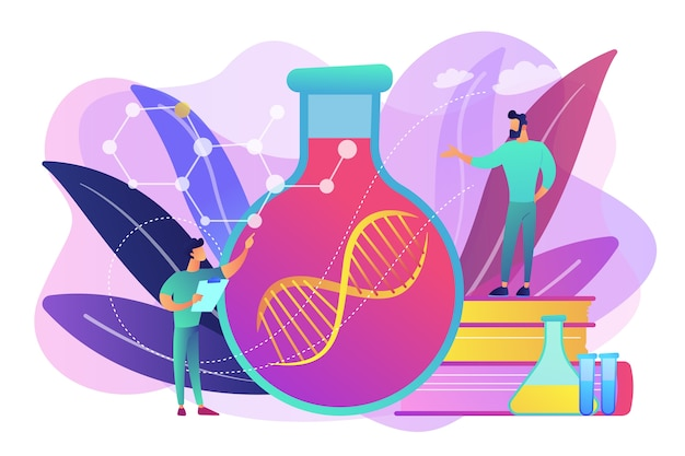 Los científicos en el laboratorio trabajan con una enorme cadena de adn en el bulbo de vidrio. terapia génica, transferencia de genes y concepto de funcionamiento de genes sobre fondo blanco. ilustración aislada violeta vibrante brillante