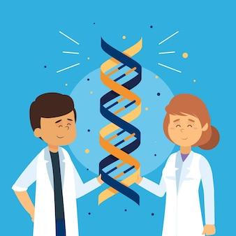 Científicos con moléculas de adn ilustradas
