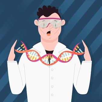 Científicos con moléculas de adn
