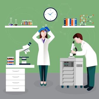 Científicos personas y composición de laboratorio