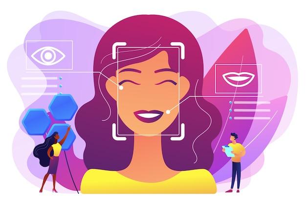 Los científicos de personas diminutas identifican las emociones de las mujeres a partir de la voz y el rostro. detección de emociones, reconocimiento del estado emocional, concepto de tecnología de sensor emo. ilustración aislada violeta vibrante brillante