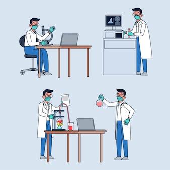 Científicos profesionales que trabajan con equipos de laboratorio.