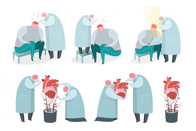 Científicos que cultivan órganos humanos artificiales y trabajan con personajes de dibujos animados de psicología cerebral. soporte vital, creación de implantes cardíacos. médicos haciendo dibujo de trasplante de experimento científico.