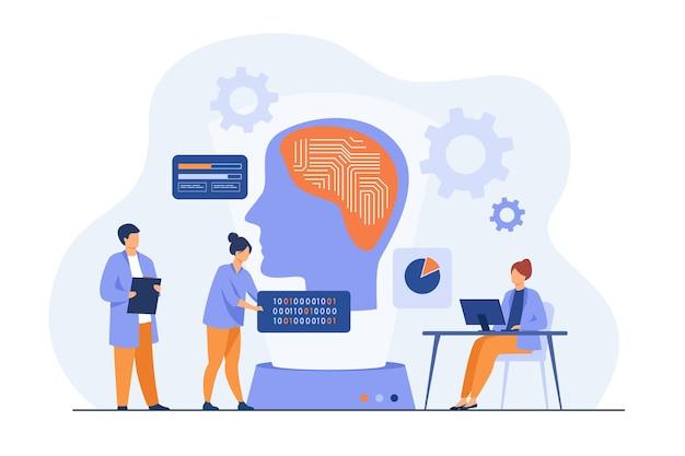 Científicos que estudian las conexiones neuronales. programadores escribiendo códigos para cerebro de máquina