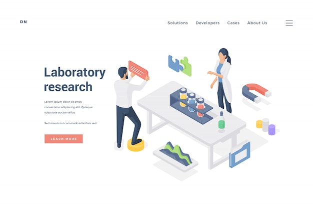 Científicos que realizan investigaciones en laboratorio. ilustración