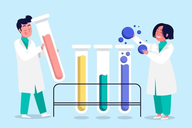 Los científicos que trabajan juntos ilustración