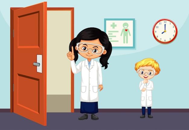 Científicos que trabajan en la sala.