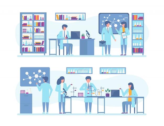 Los científicos trabajan en investigación, experimentos en laboratorio científico, conjunto de ilustración.