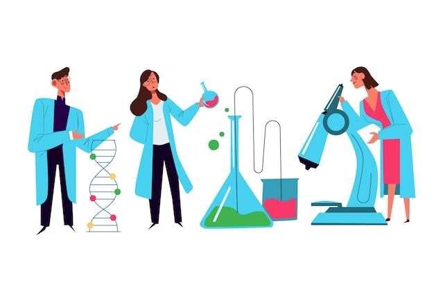 Científicos trabajando ilustración