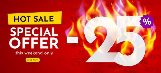 Por ciento de descuento en banner de venta caliente con carteles de descuento de números ardientes