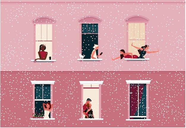 Cierre de emergencia. vida en cuarentena. marcos de ventana con vecinos celebrando navidad o año nuevo. nieve.