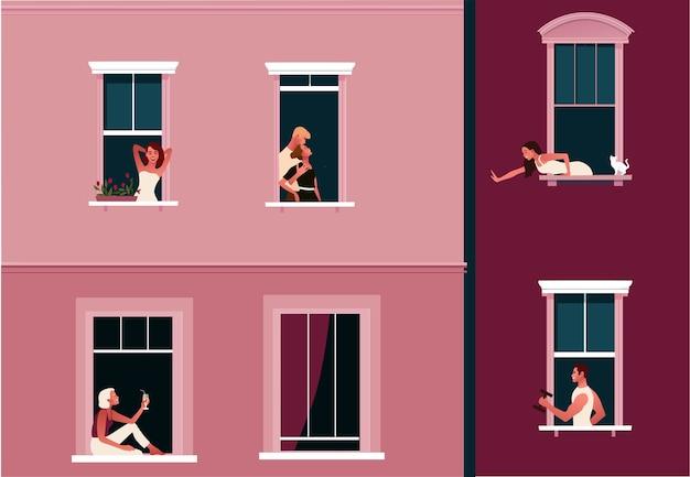 Cierre de emergencia. vida en cuarentena. marcos de ventanas con vecinos haciendo cosas cotidianas en sus apartamentos.