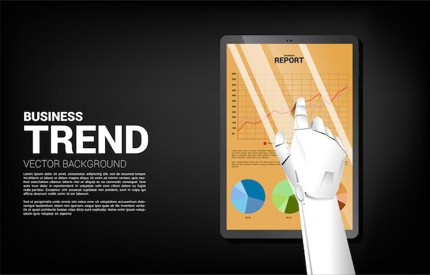 Cierre encima del informe del gráfico de negocio del tacto de la mano del robot en tableta. concepto de crecimiento de aprendizaje automático y reporte de tendencias.