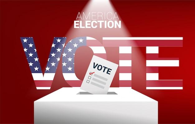 Ciérrese encima de la mano del hombre de negocios puso su voto a la caja de la elección. concepto de fondo de tema de voto de elección de estados unidos.