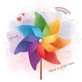 Ciérrese encima del molinillo de viento colorido en pasar un buen rato.