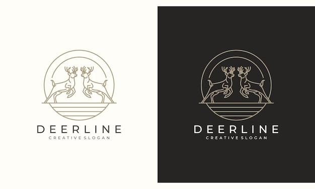 Ciervo antílope ciervo diseño de logotipo creativo minimalista