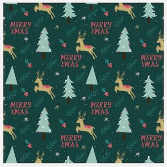 Ciervo con el árbol y el elemento navideño de patrones sin fisuras