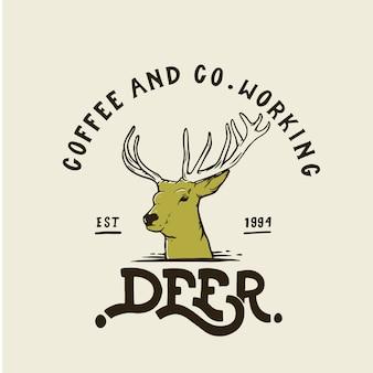 Ciervo café y co logo de trabajo