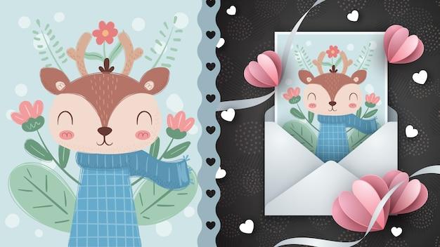 Ciervo dulce - idea para la tarjeta de felicitación.