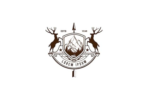Ciervo de escudo con emblema de insignia de punta de flecha para vector de diseño de logotipo de aventura de caza salvaje
