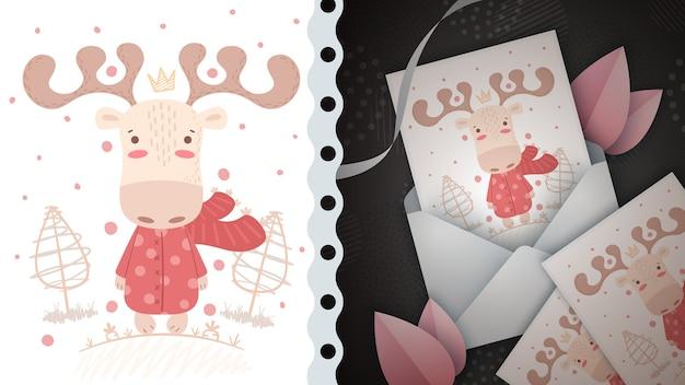 Ciervo de invierno - idea para tarjeta de felicitación
