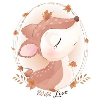 Ciervo lindo doodle con ilustración acuarela