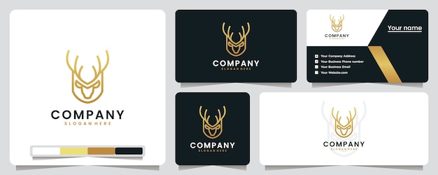 Ciervo, lujo, elegante, diseño de logotipos y tarjetas de visita.
